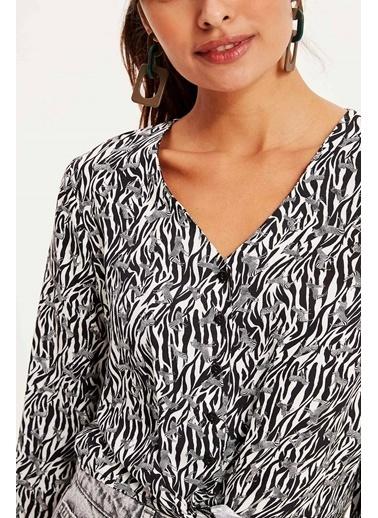 DeFacto Zebra Desenli Gömlek Siyah